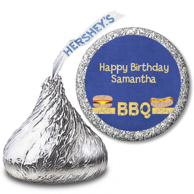 BBQ Hotdogs and Hamburgers - Hershey Kiss Birthday Party Sticker Labels