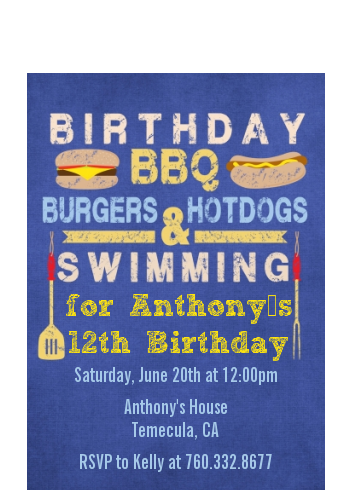 BBQ Hotdogs and Hamburgers - Birthday Party Petite Invitations Celebration