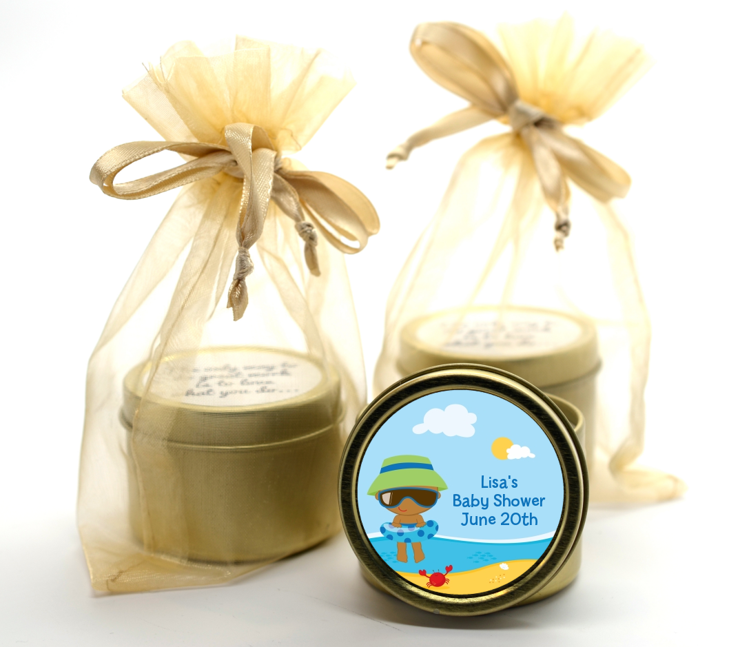 Beach Baby African American Boy Gold Tin Candle Favors | Candles ...