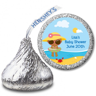 Beach Baby African American Girl - Hershey Kiss Baby Shower Sticker Labels