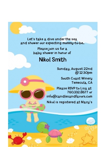 Beach Baby Asian Girl - Baby Shower Petite Invitations