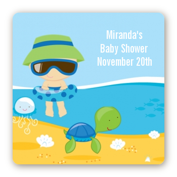 Beach Baby Boy - Square Personalized Baby Shower Sticker Labels