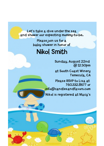 Beach Baby Boy - Baby Shower Petite Invitations Option 1