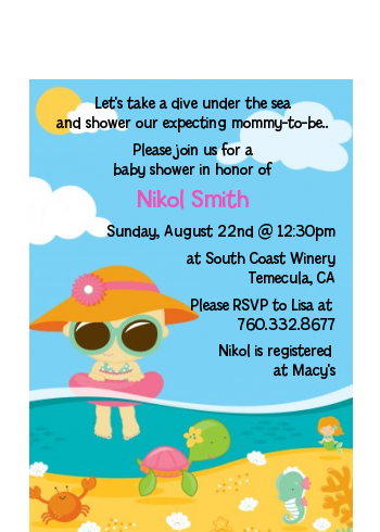 Beach Baby Girl - Baby Shower Petite Invitations Blue/Pink