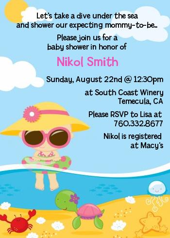 Beach Baby Girl   Baby Shower Invitations Blue/Pink