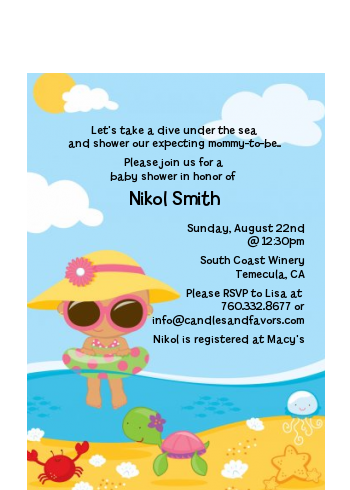 Beach Baby Hispanic Girl - Baby Shower Petite Invitations