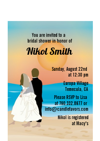 Beach Couple - Bridal Shower Petite Invitations