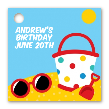 Beach Toys - Personalized Birthday Party Card Stock Favor Tags