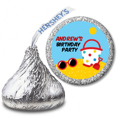 Beach Toys - Hershey Kiss Birthday Party Sticker Labels