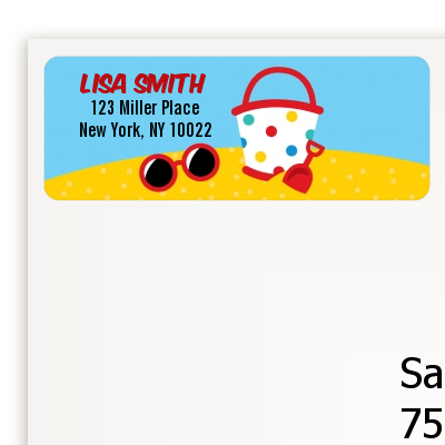 Beach Toys - Birthday Party Return Address Labels