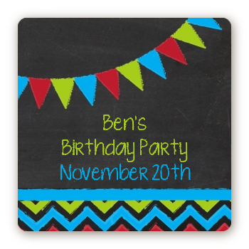 Birthday Boy Chalk Inspired - Square Personalized Birthday Party Sticker Labels