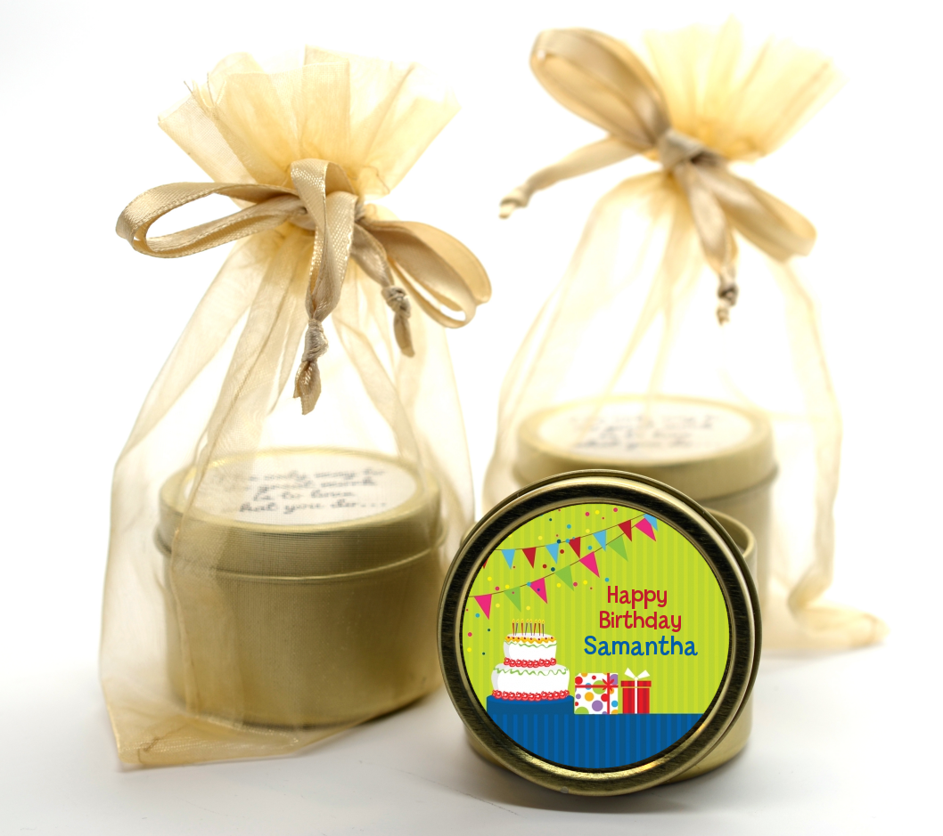Birthday Cake Gold Tin Candle Favors