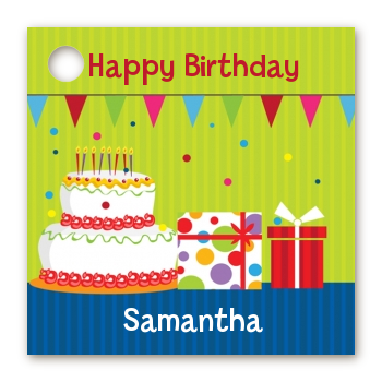 Birthday Cake - Personalized Birthday Party Card Stock Favor Tags