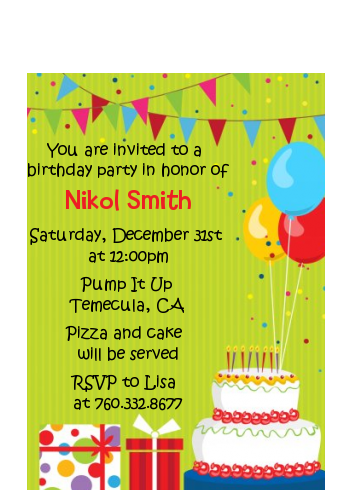 Birthday Cake - Birthday Party Petite Invitations