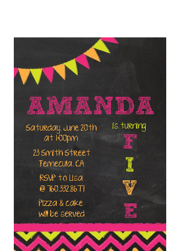 Birthday Girl Chalk Inspired - Birthday Party Petite Invitations