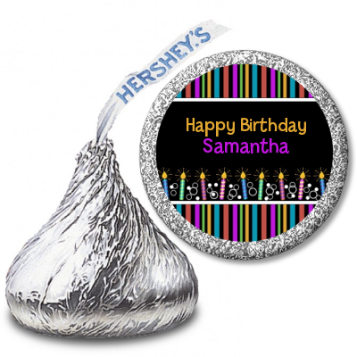 Birthday Wishes - Hershey Kiss Birthday Party Sticker Labels