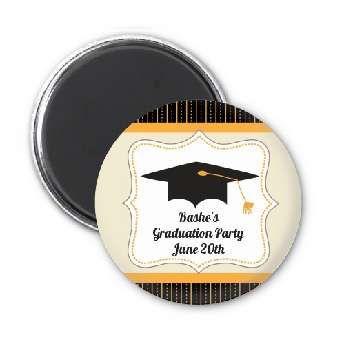 black gold personalized graduation party magnet favors