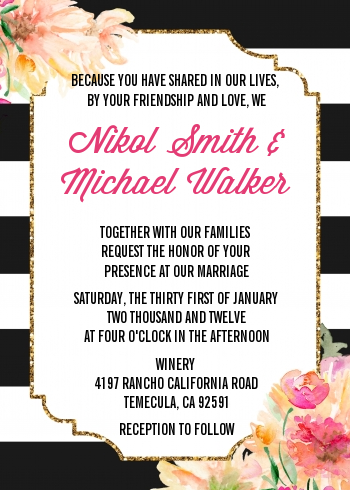 Black And White Stripe Floral Watercolor - Bridal Shower Invitations