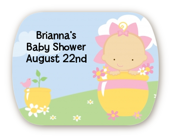 Blooming Baby Girl Caucasian - Personalized Baby Shower Rounded Corner Stickers