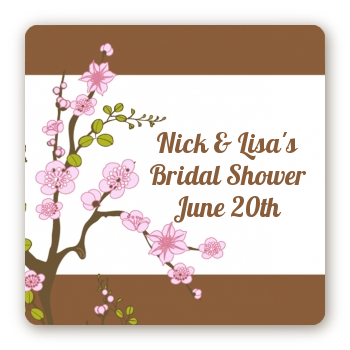 Blossom - Square Personalized Bridal Shower Sticker Labels