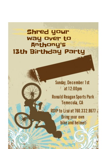 BMX Rider - Birthday Party Petite Invitations