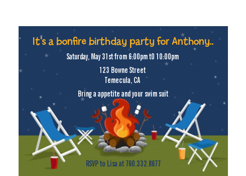 bonfire birthday party petite invitations
