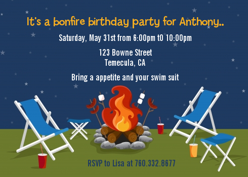 bonfire birthday party invitations candles and favors