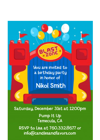 Bounce House - Birthday Party Petite Invitations