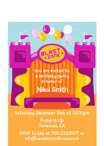 Bounce House Purple and Orange - Birthday Party Petite Invitations