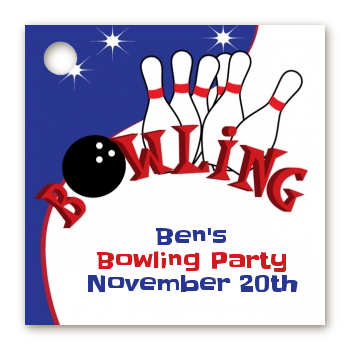 Bowling Boy - Personalized Birthday Party Card Stock Favor Tags