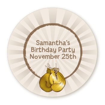 Boxing Gloves - Round Personalized Birthday Party Sticker Labels Option 1