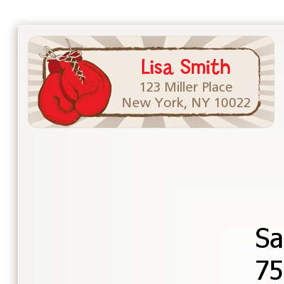 Boxing Gloves - Birthday Party Return Address Labels
