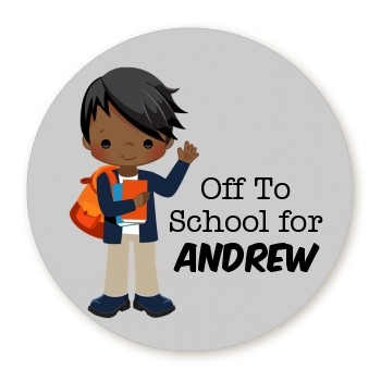 Boy Student - Round Personalized School Sticker Labels Option 1