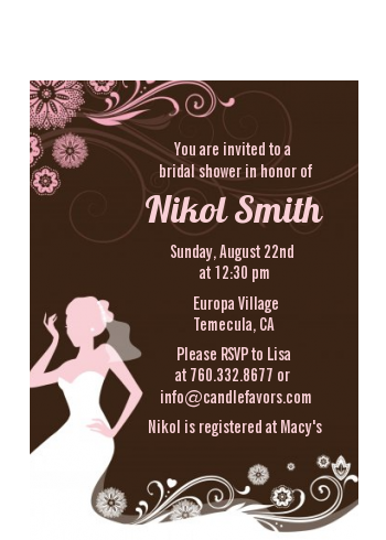 Bridal Silhouette Floral Pink - Bridal Shower Petite Invitations