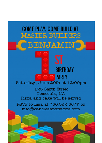 Building Blocks - Birthday Party Petite Invitations