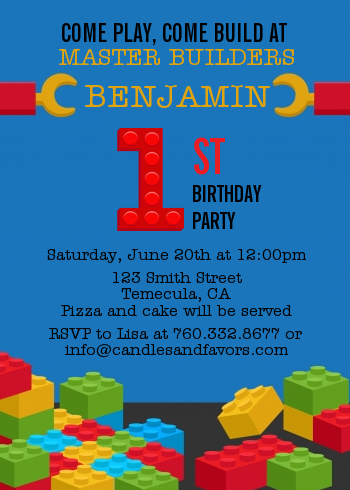 Building Blocks - Birthday Party Invitations