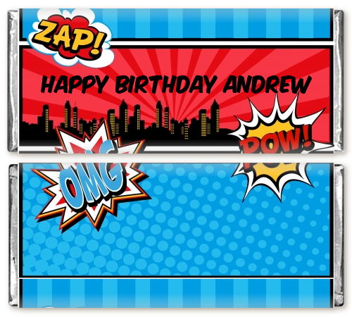 calling all superheroes birthday party candy bar wrappers candles
