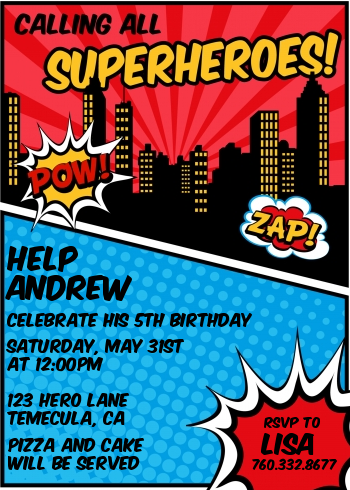 Calling All Superheroes Birthday Party Invitations Candles and Favors