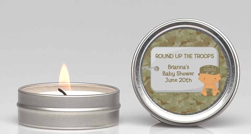 Camo Military - Baby Shower Candle Favors Caucasian