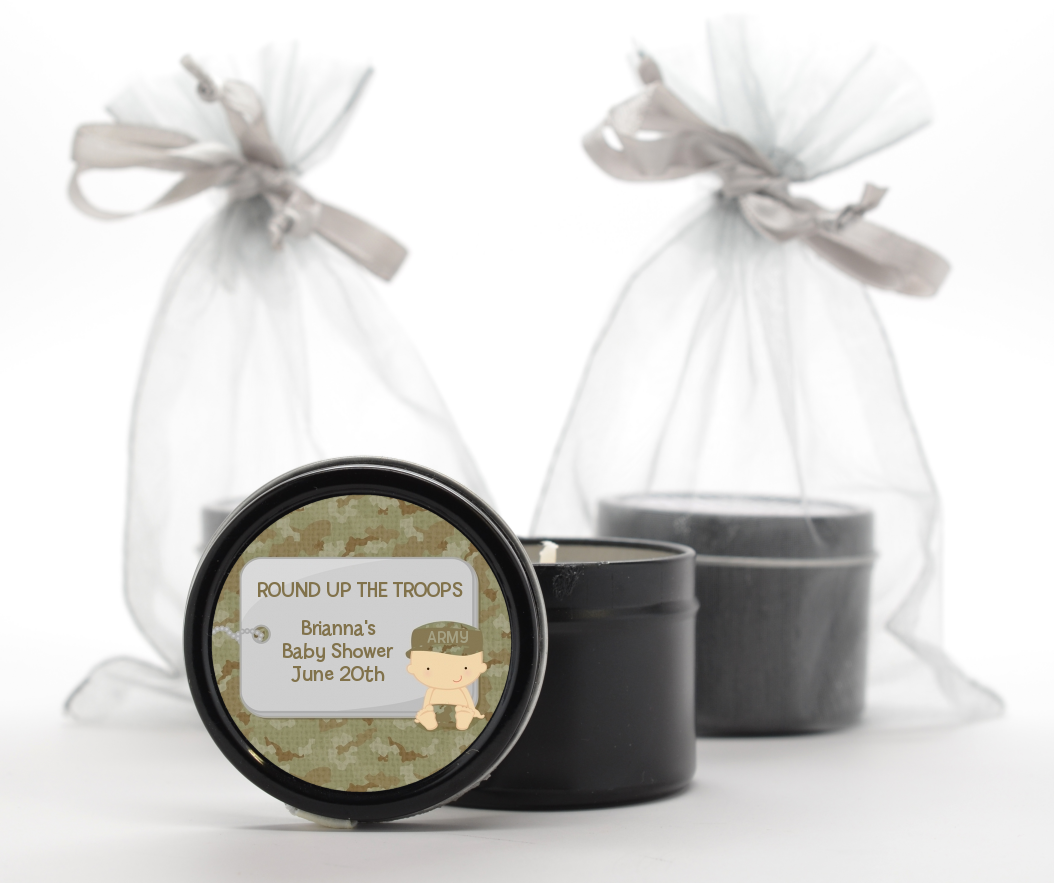 Camo Military - Baby Shower Black Candle Tin Favors Caucasian