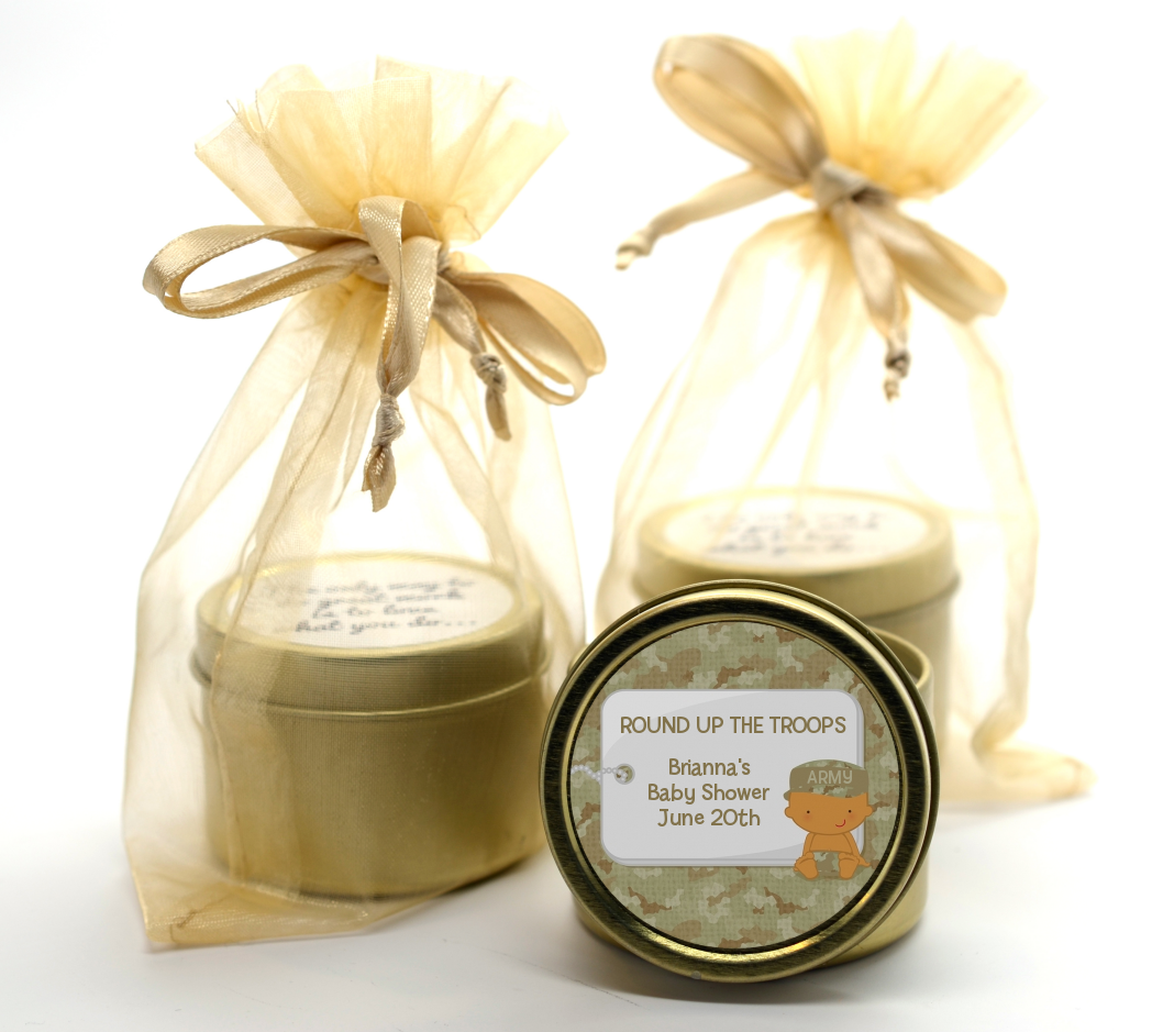Camo Military - Baby Shower Gold Tin Candle Favors Caucasian