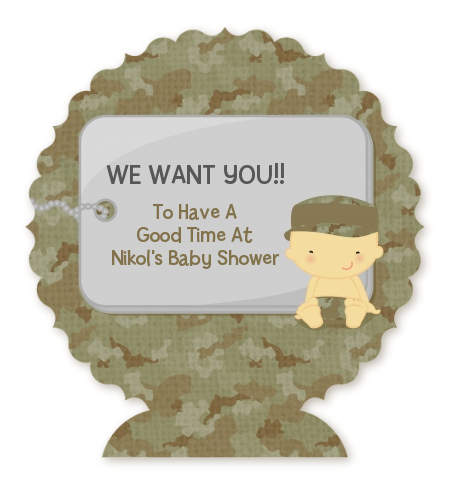 Camo Military - Personalized Baby Shower Centerpiece Stand Caucasian
