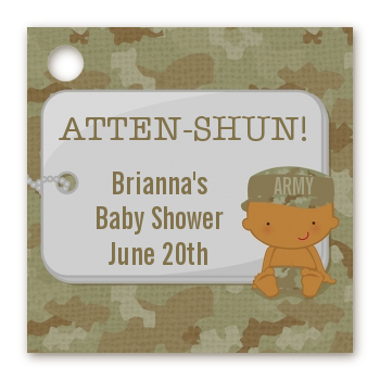 Camo Military - Personalized Baby Shower Card Stock Favor Tags Caucasian