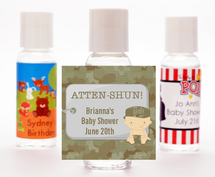 Camo Military - Personalized Baby Shower Hand Sanitizers Favors Caucasian