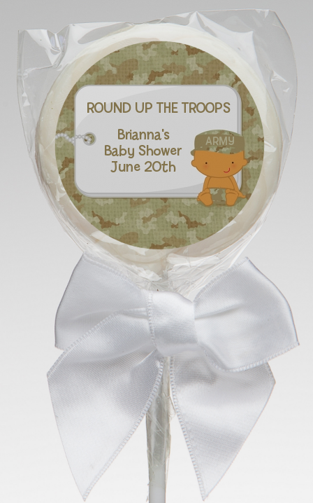 Camo Military - Personalized Baby Shower Lollipop Favors Caucasian