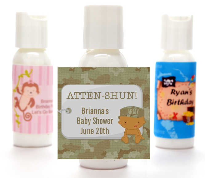 Camo Military - Personalized Baby Shower Lotion Favors Caucasian