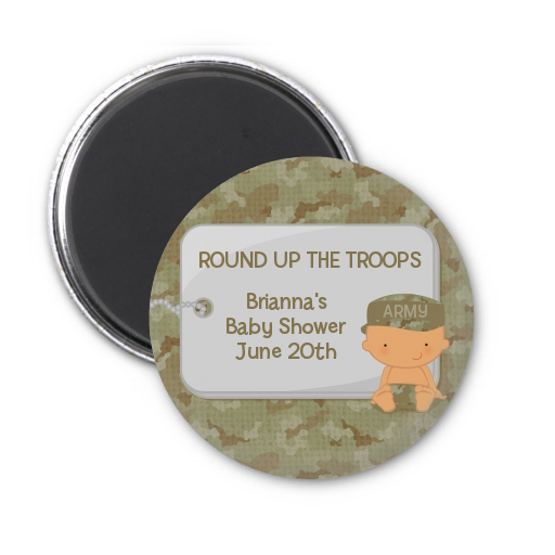 Camo Military - Personalized Baby Shower Magnet Favors Caucasian
