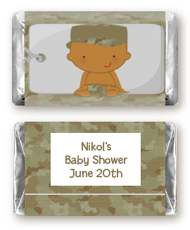 Camo Military - Personalized Baby Shower Mini Candy Bar Wrappers Caucasian
