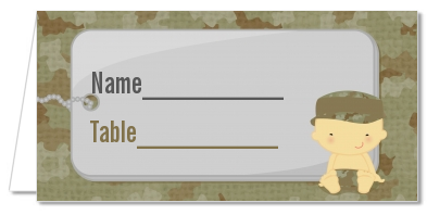 Camo Military - Personalized Baby Shower Place Cards Caucasian