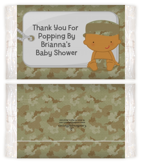 Camo Military - Personalized Popcorn Wrapper Baby Shower Favors Caucasian